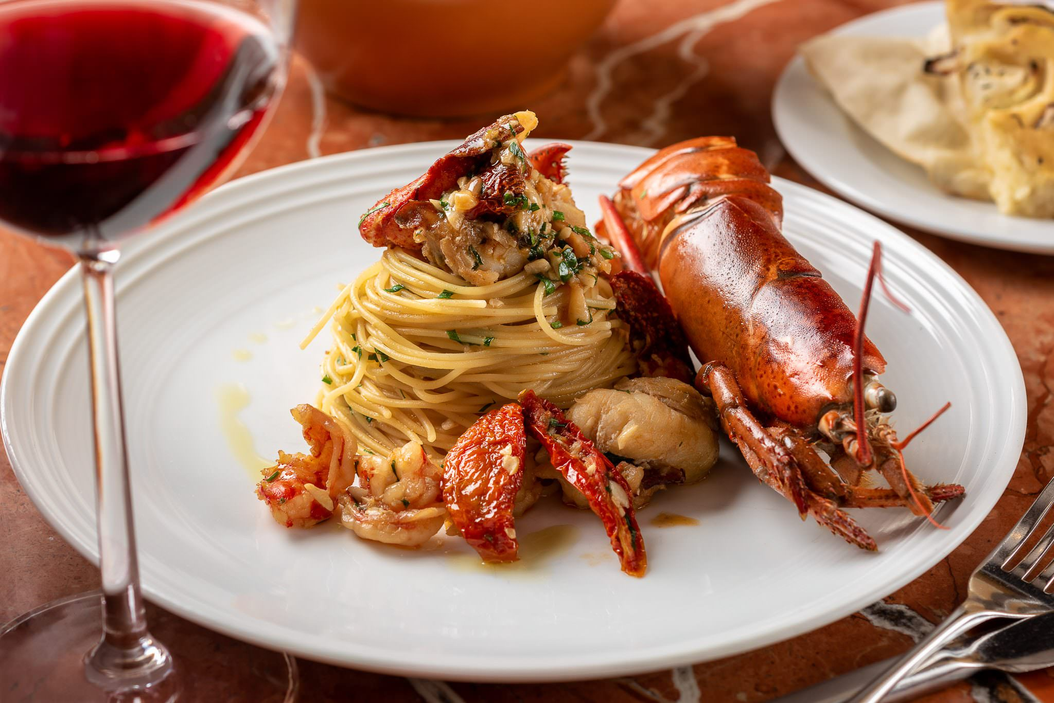 Angel Hair pasta with Live Maine Lobster with aglio, olio, pepperoncino